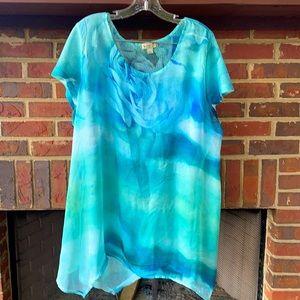 Multi-fabric blouse, ocean colors.